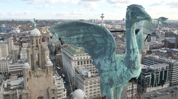 Liver Birds on top of the Royal Liver Building