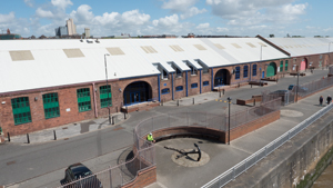 Aerial drone photo of commercial property Liverpool