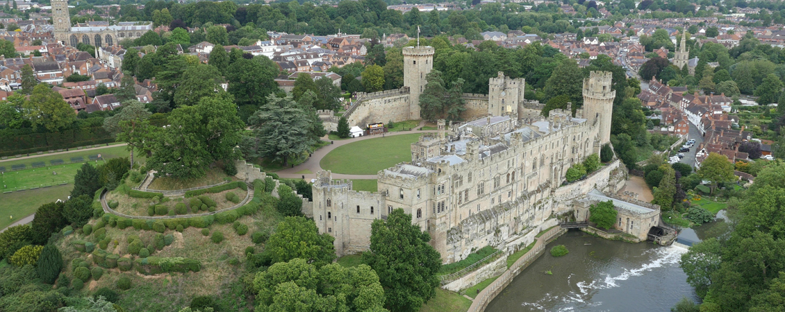 Warwick Castle aerial view