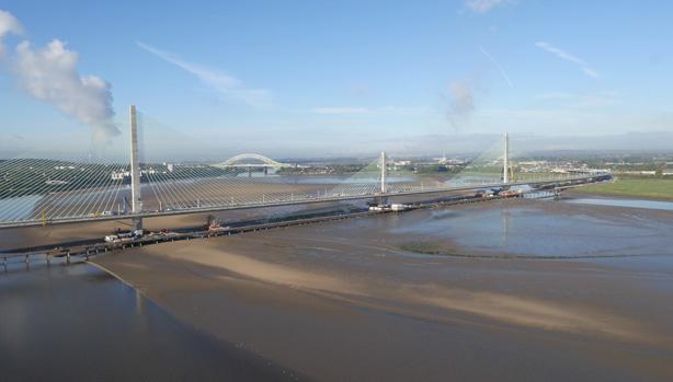 Mersey Gateway Suspension Bridge Drone Video