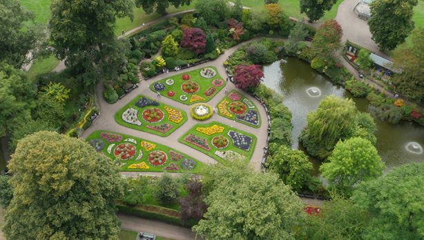 Shrewsbury garden shot from the drone for TV